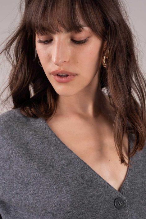 pull gris en cachemire pour femme