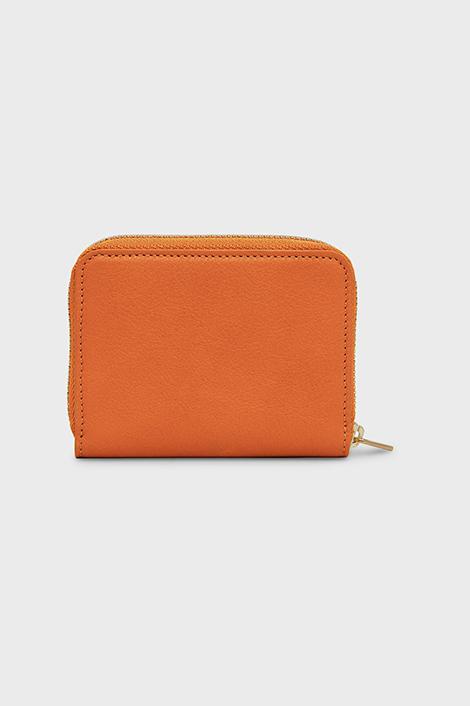 Portefeuille orange pour femme en cuir