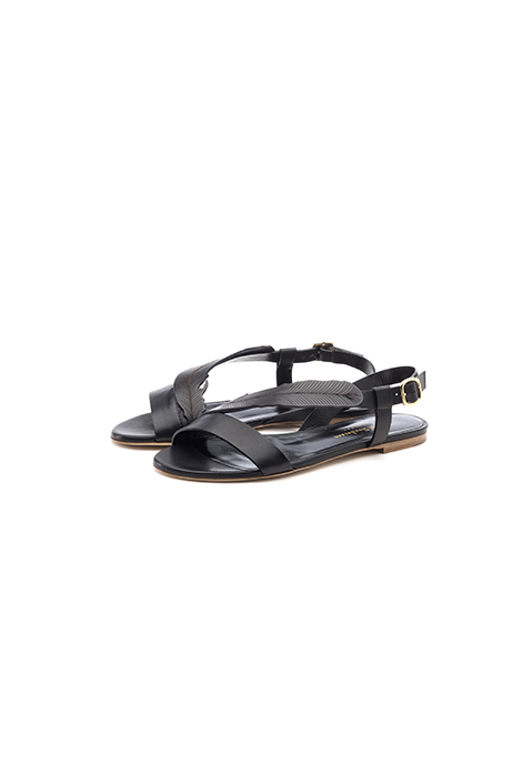 sandales cuir noir pour femme