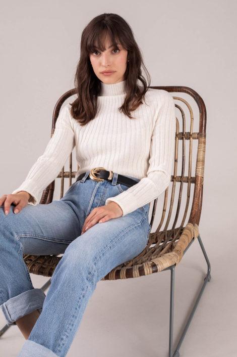 pull blanc 100% cachemire