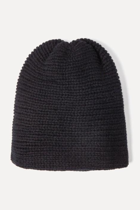 Bonnet noir 100% cachemire