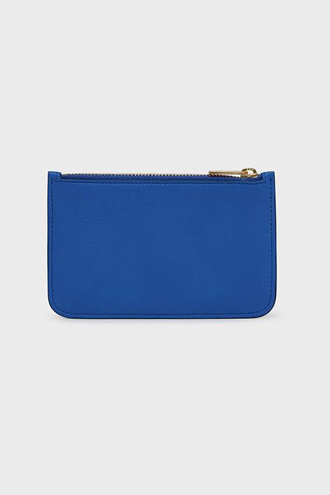 porte-carte bleu en cuir