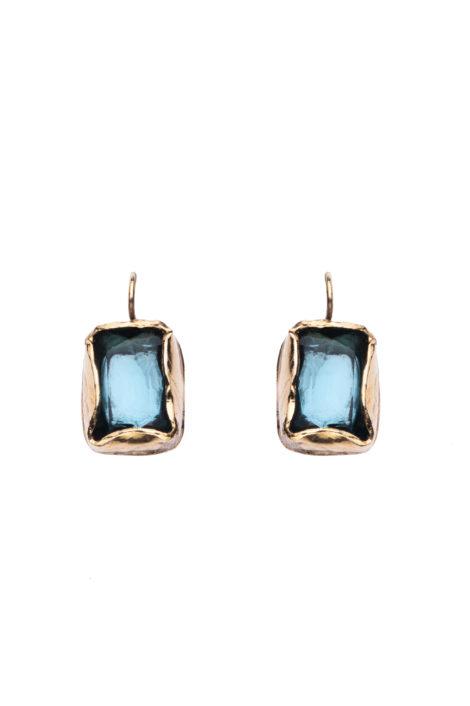 boucle d'oreille or et bleu pour femme