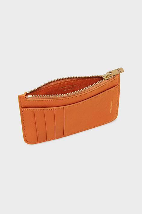 porte-carte orange en cuir