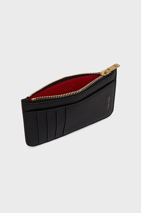 porte-carte noir et rouge en cuir