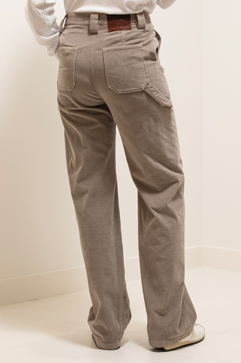 pantalon True Royal en velours milleraies gris de dos