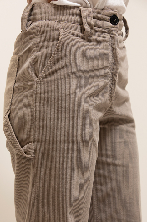 pantalon True Royal en velours milleraies gris détail poche avant