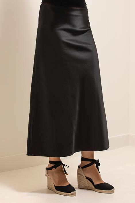 jupe noire La Nuit évasée longue