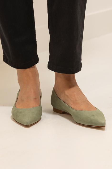 chaussures plates bout pointu vert amande Fabio Rusconi