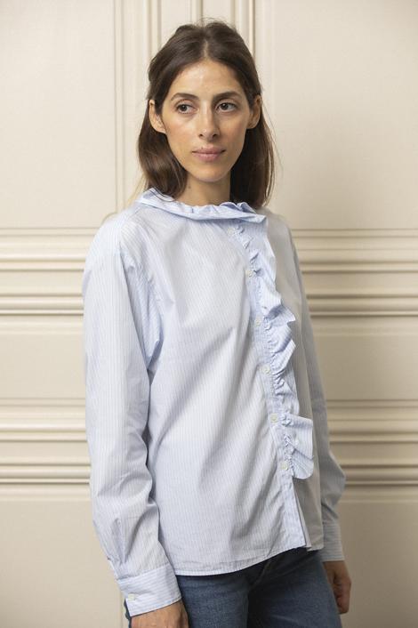 model photo portant une chemise rayée bleu et blanche