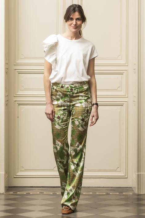 Pantalon imprimé végétal en soie pour femme