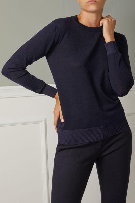 pull italien en laine bleu marine