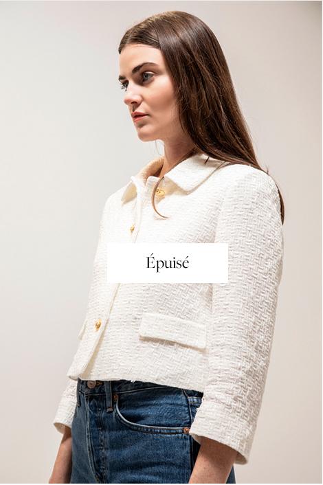 veste tweed blanc femme