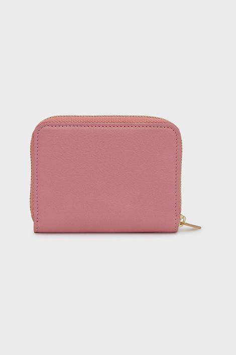Portefeuille rose pour femme en cuir