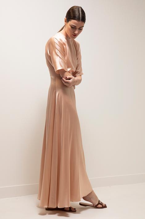 Robe longue nude en soie pour femme