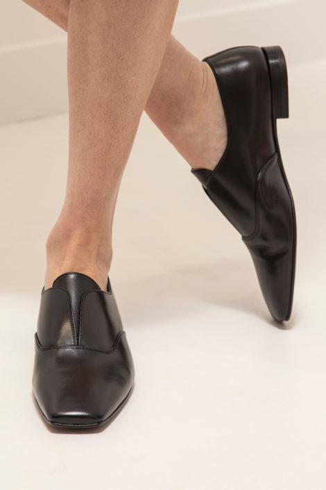 mocassin en cuir noir pour femme
