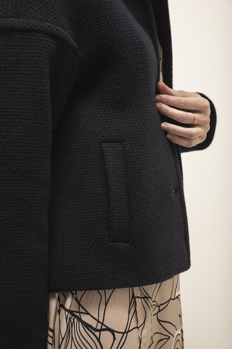 Blouson bleu marine en laine pour femme