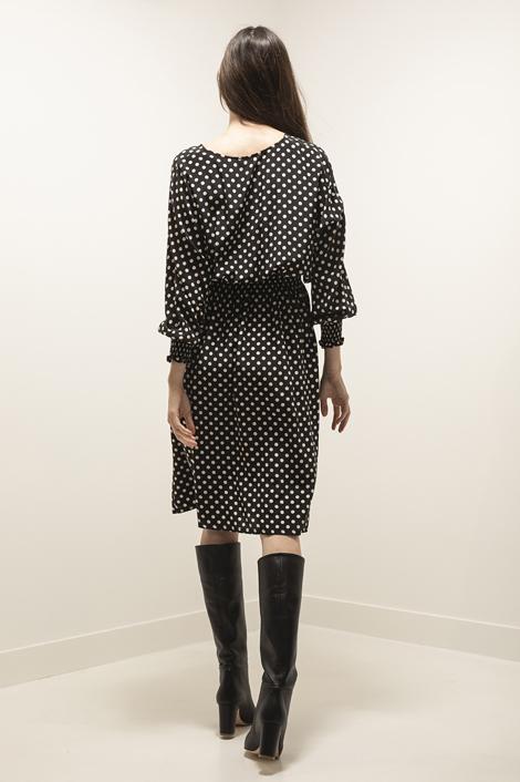 mannequin portant une robe à pois noir et blanc pour femme
