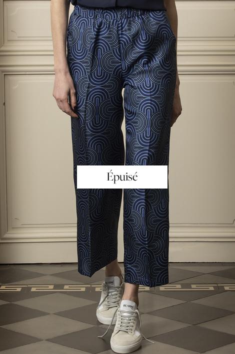 pantalon bleue soie femme