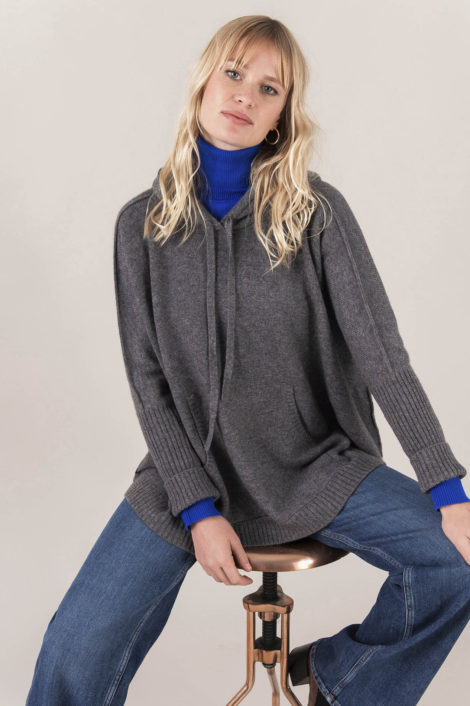 Pull 100% cachemire gris, marque kujten