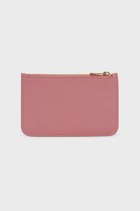 porte-carte rose en cuir