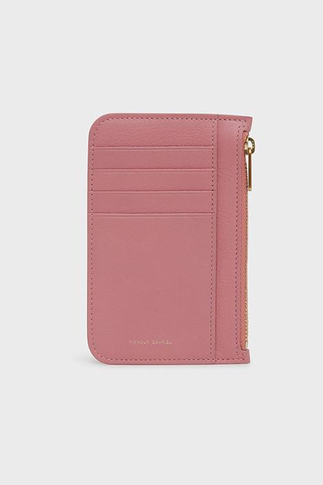 porte-carte rose en cuir